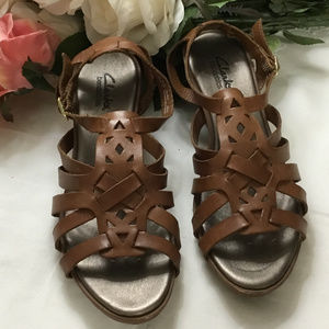 Clarks Caramel Brown Strappy Sandal Wedge Shoes